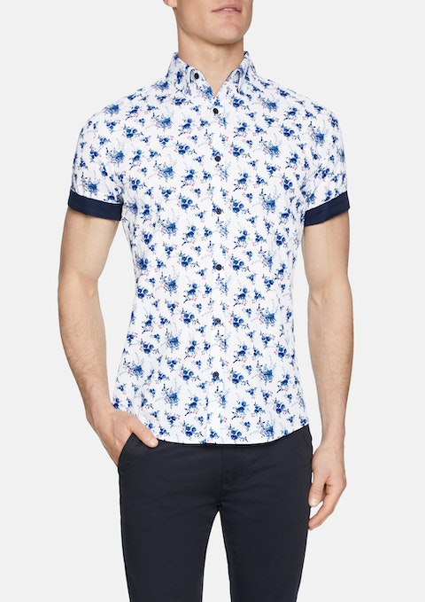 White Swift Floral Print Shirt