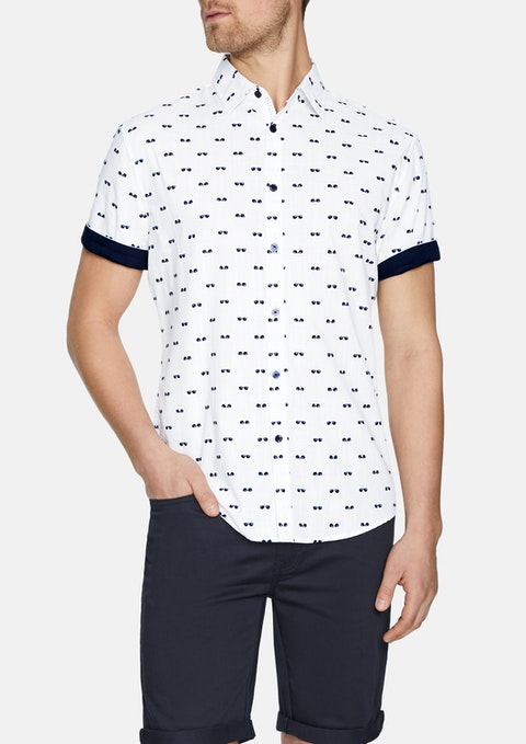 White Cool Shades Print Shirt