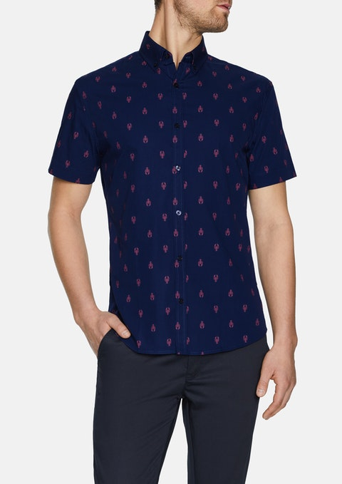 Navy Lobster Print Shirt