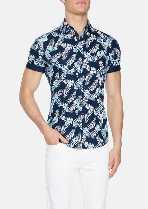 Navy Glades Palm  Print Shirt