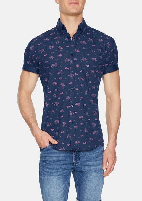 Navy Jungle Print Shirt