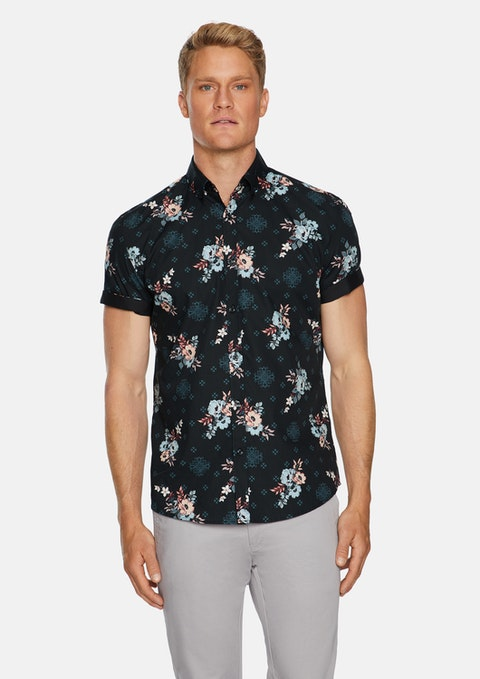 Black Cabo Floral Print Shirt