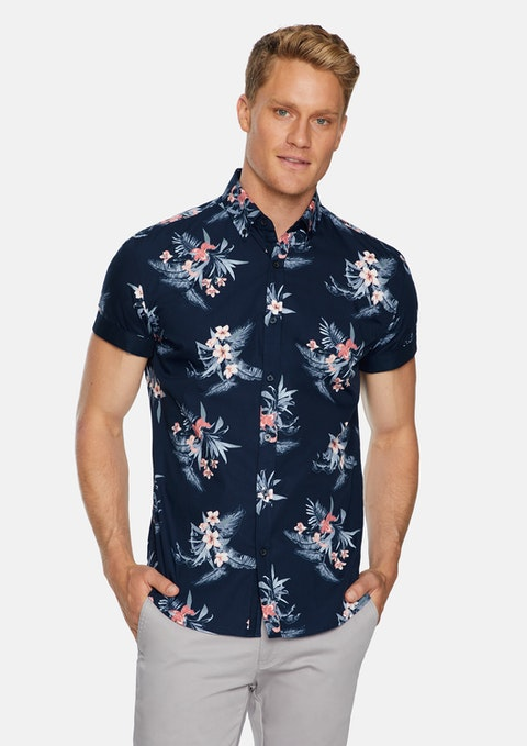Navy Palmer Floral Print Shirt