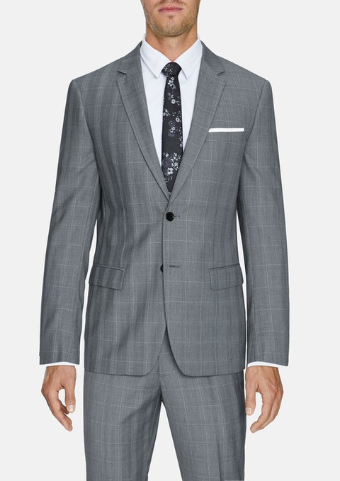 Grey Malek 2 Button Check Suit