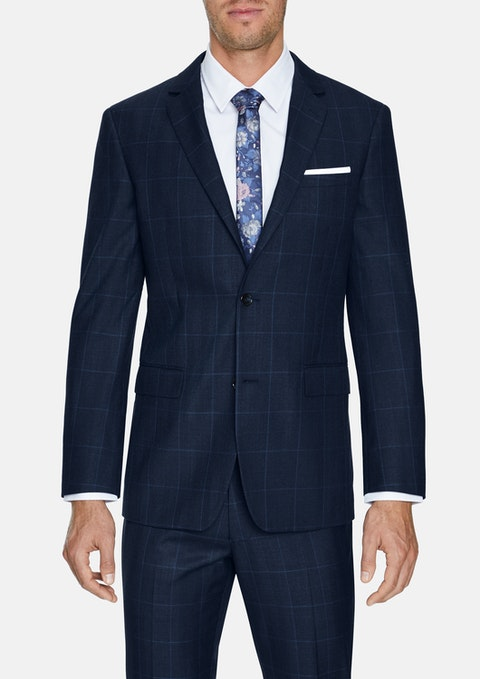 Blue Hemsworth Slim 2 Button Check
