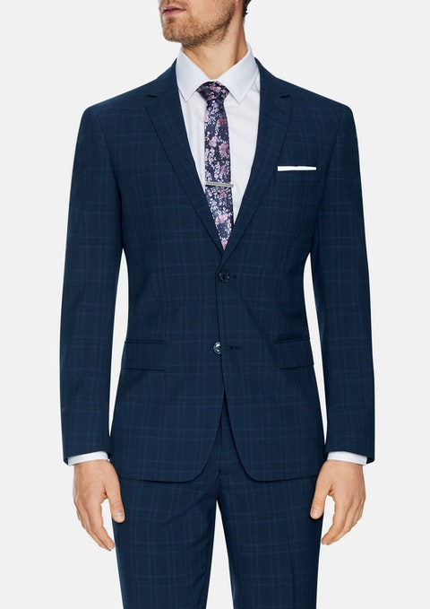 Navy Waterloo 2 Button Check Suit