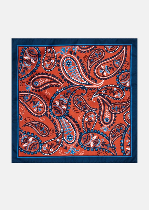 Rust Cairo Paisley Pocket Square