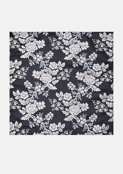 Black Denham Floral Pocket Square