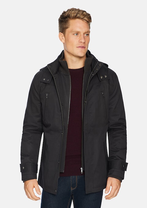Charcoal Don Water Resistant Hooded Jacket