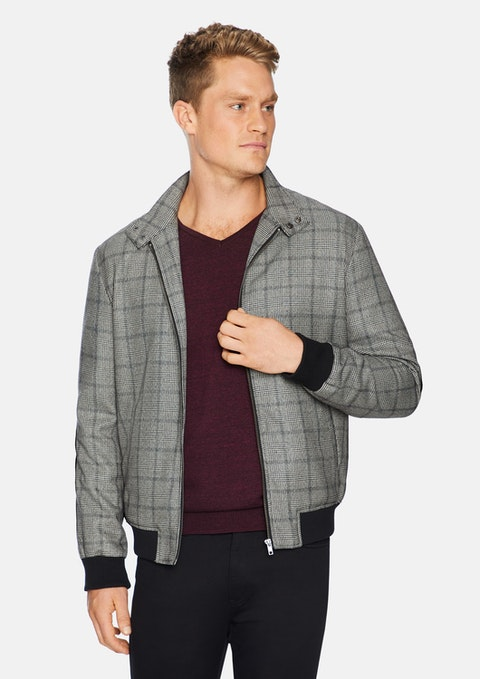 Grey Sam Check Bomber