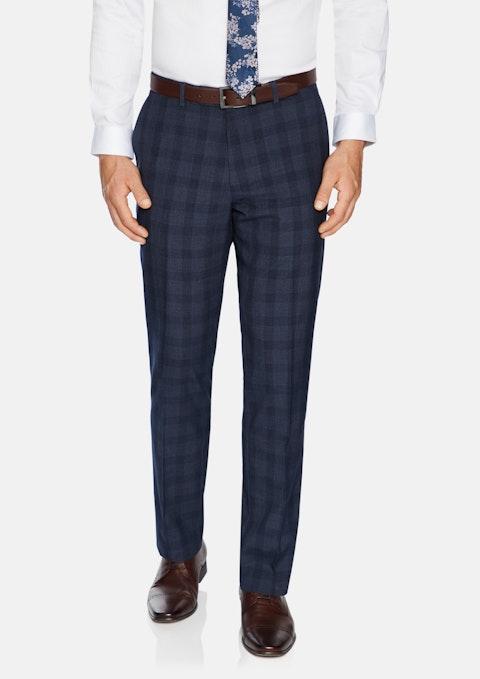 Navy Trenton Slim Check Pant