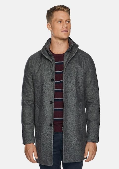 Silver Fairmont Wool Blend Coat