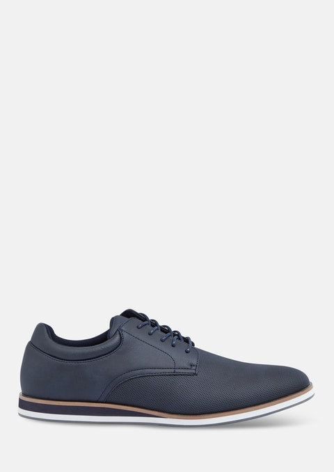 Navy Enzo Textured Lace Up Shoe