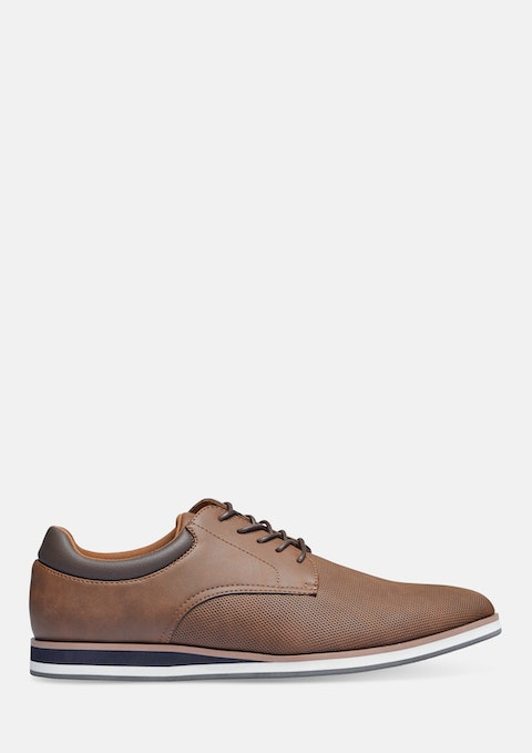 Tan Enzo Textured Lace Up Shoe
