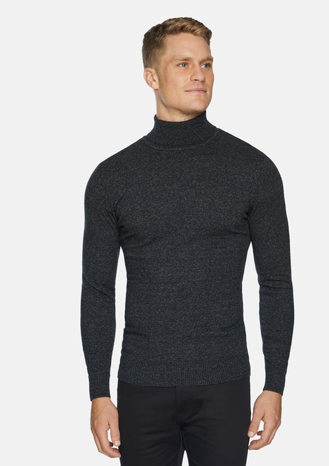 Charcoal Hans Roll Neck Knit