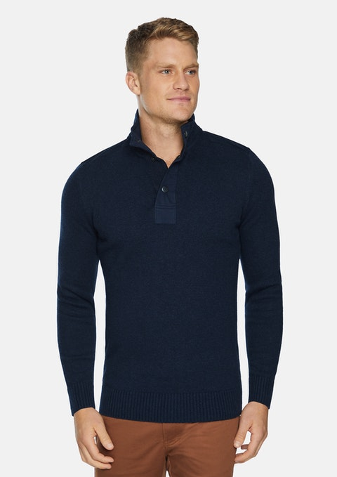 Navy Malone Textured Knit