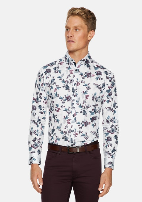 White Carey Leaf Slim Print Shirt