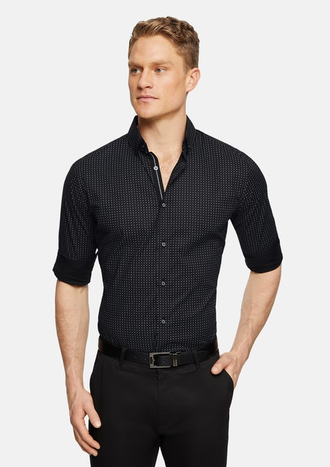 Black Jones Slim Stretch Print Shirt