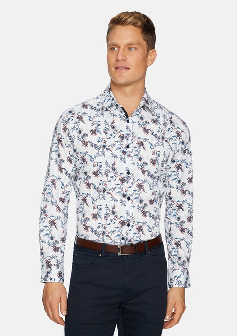 White Anderson Stretch Print Shirt