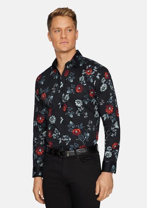 Black Bentley Slim Stretch Floral Shirt