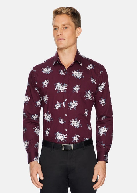 Burgundy Huxley Stretch Floral Shirt