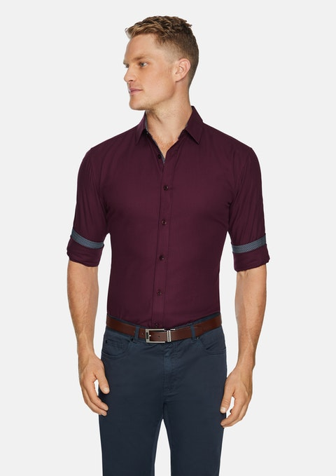 Burgundy Luther Slim Textured Shirt
