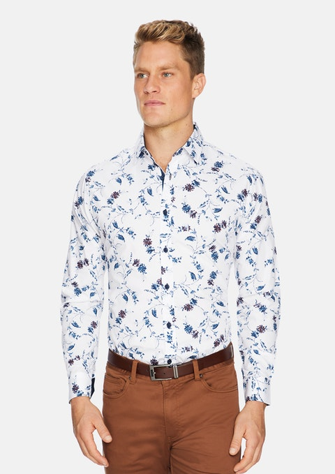 White Fitzgerald Floral Print Shirt