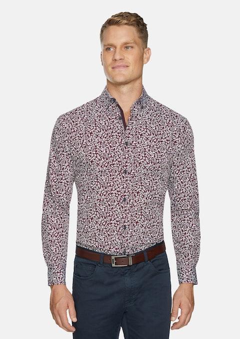 Burgundy Barden Floral Print Shirt
