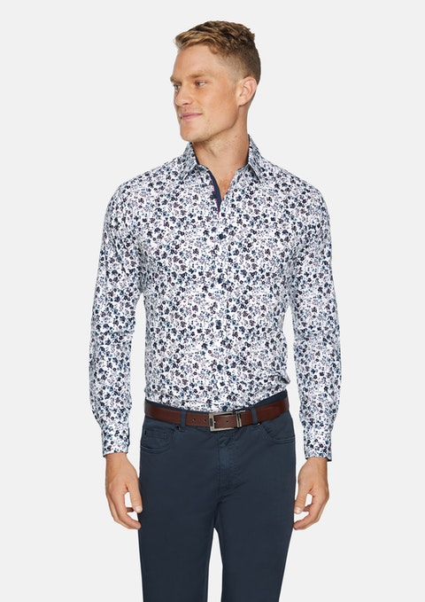 White Cameron Floral Print Shirt