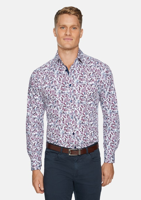 Burgundy Baird Paisley Print Shirt