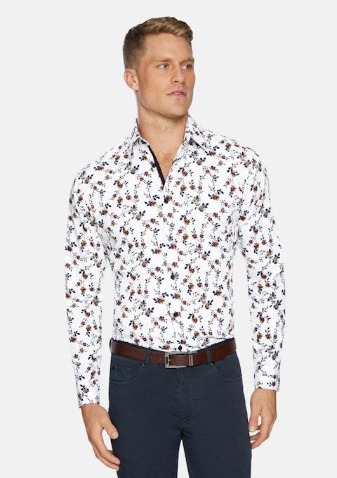 White Denison Slim Floral Print Shirt