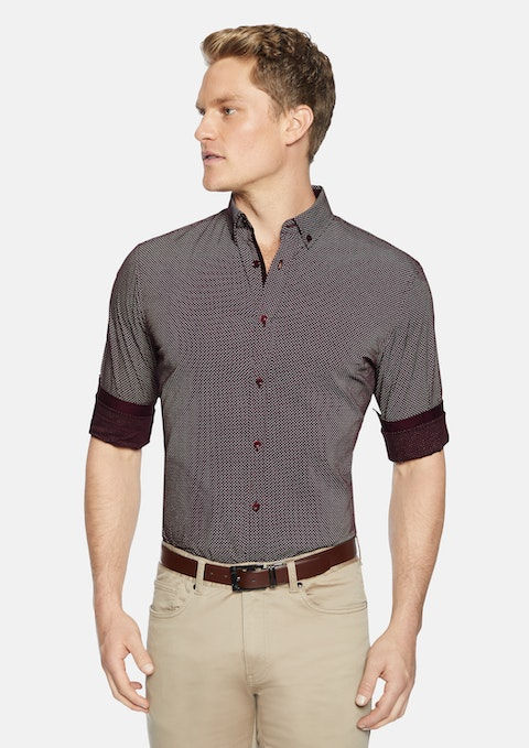 Burgundy Knight Print Shirt