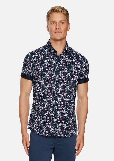 Navy Costa Floral Stretch  Shirt