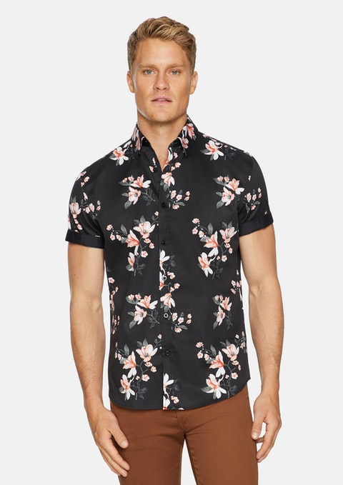 Black Marcus Stretch Floral Shirt