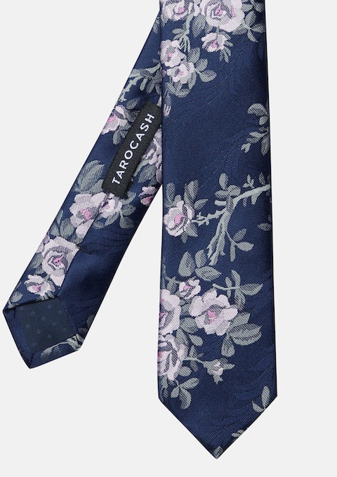 Navy Marshall Floral Tie