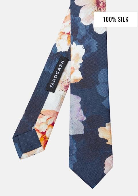 Navy Watson Silk Floral Tie