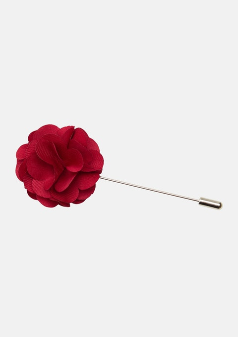 Red Bourke Flower Lapel Pin