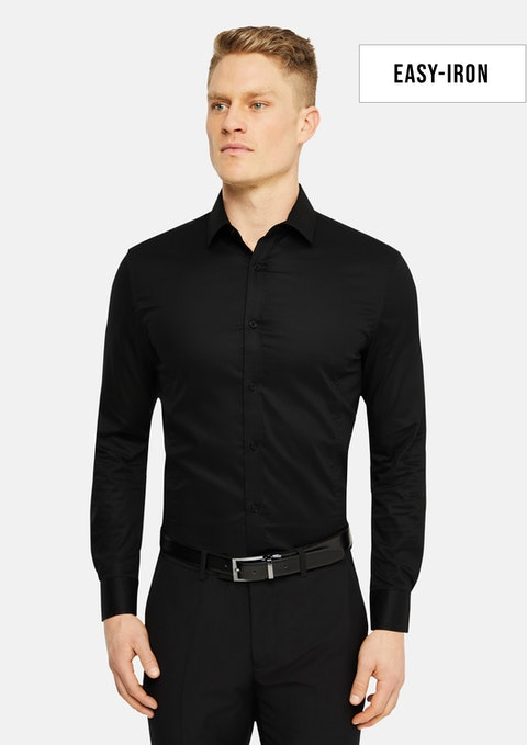 Black Ari Muscle Fit Easy Iron Shirt