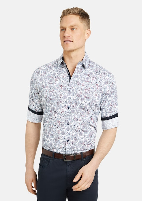 White Appleton Paisley Print Shirt