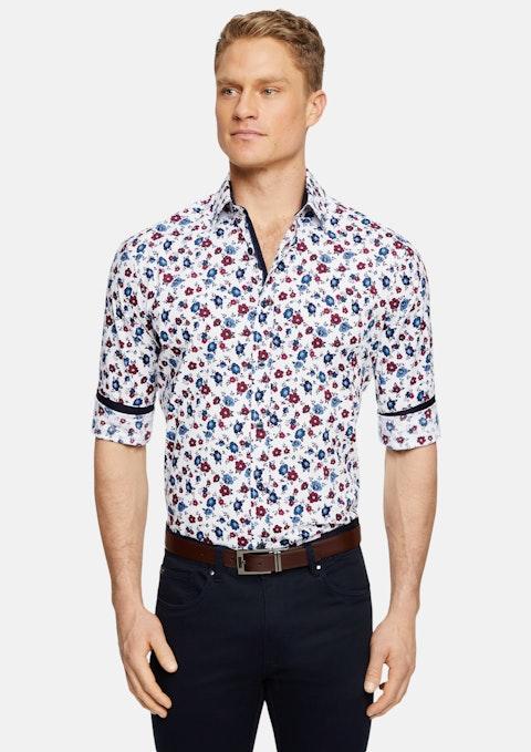 White Orbison Stretch Floral Print Shirt