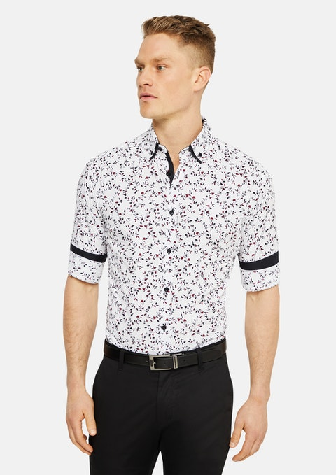White Oxley Slim Floral Print Shirt