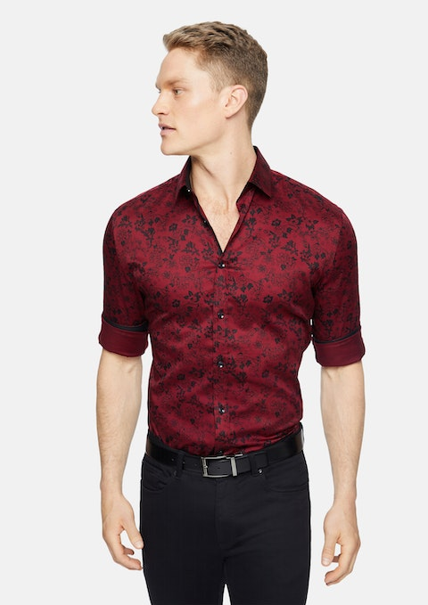 Red Tino Slim Stretch Floral Shirt