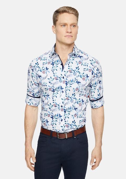 White Roland Slim Floral Print Shirt