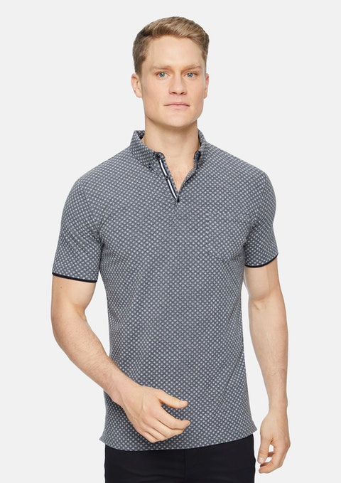 Charcoal Marle Icon Geo Print Polo