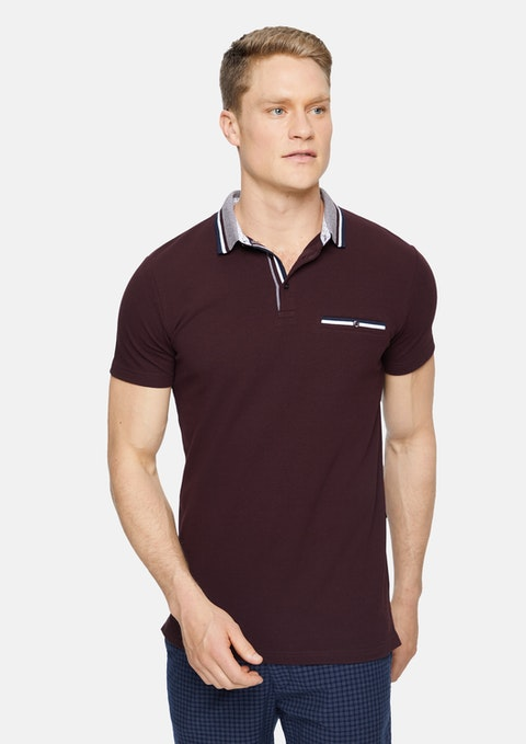 Burgundy Roman Stretch Muscle Polo