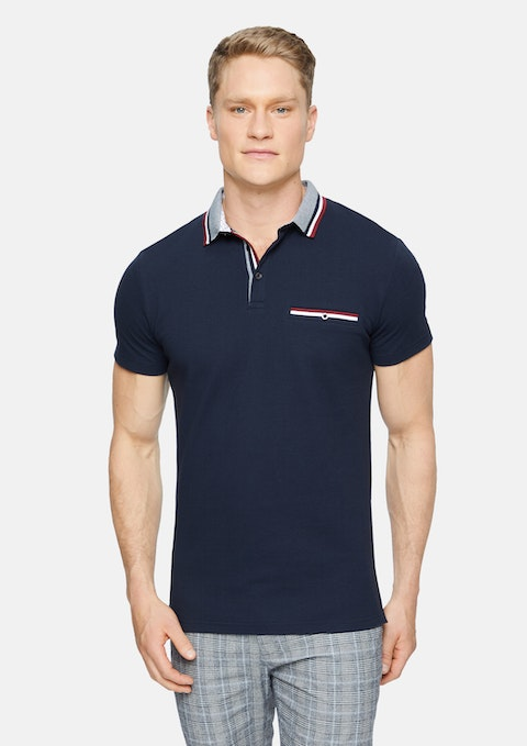 Navy Roman Stretch Muscle Polo
