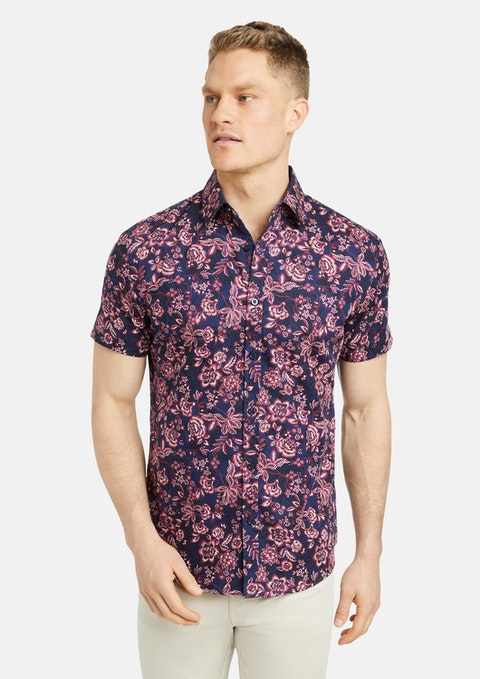 Navy Oslow Floral Print Shirt