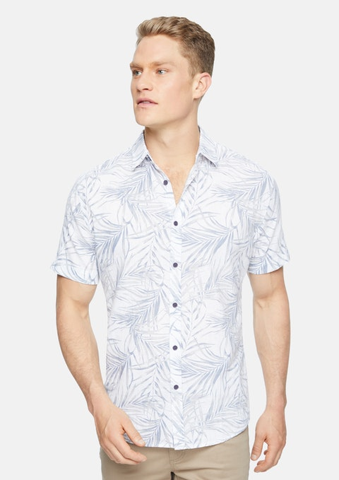 White Shady Palms Linen Shirt