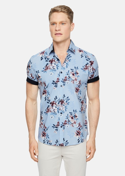 Sky Houston Stretch Floral Print Shirt