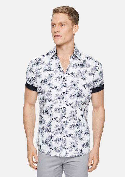 White Brodie Stretch Floral Print Shirt